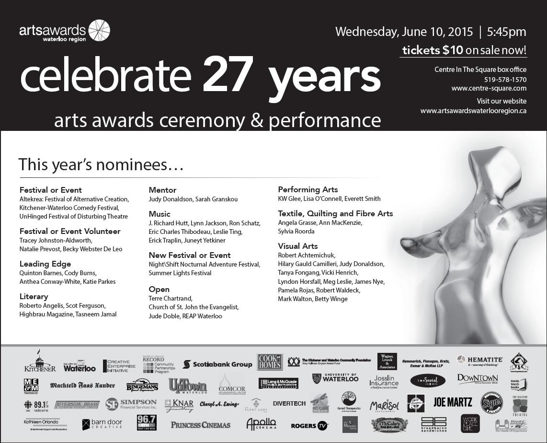 2014 Arts Awards Waterloo Region Nominees